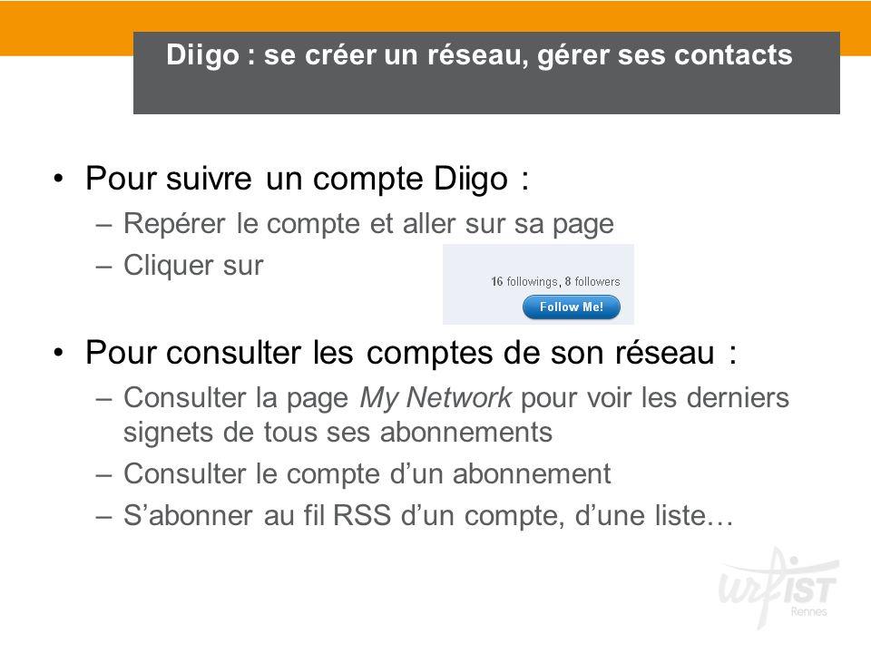 Pour suivre un compte Diigo : –Repérer le compte et aller sur sa page –Cliquer sur Pour consulter les comptes de son réseau : –Consulter la page My Ne