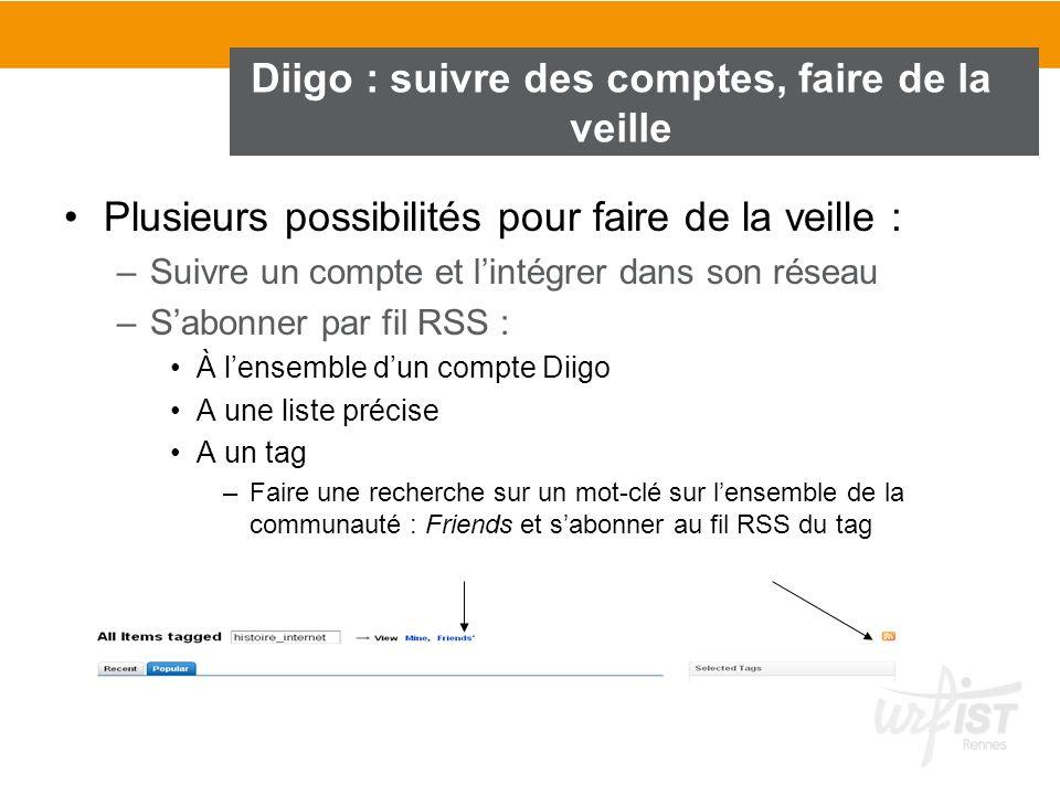 Diigo : suivre des comptes, faire de la veille Plusieurs possibilités pour faire de la veille : –Suivre un compte et lintégrer dans son réseau –Sabonn