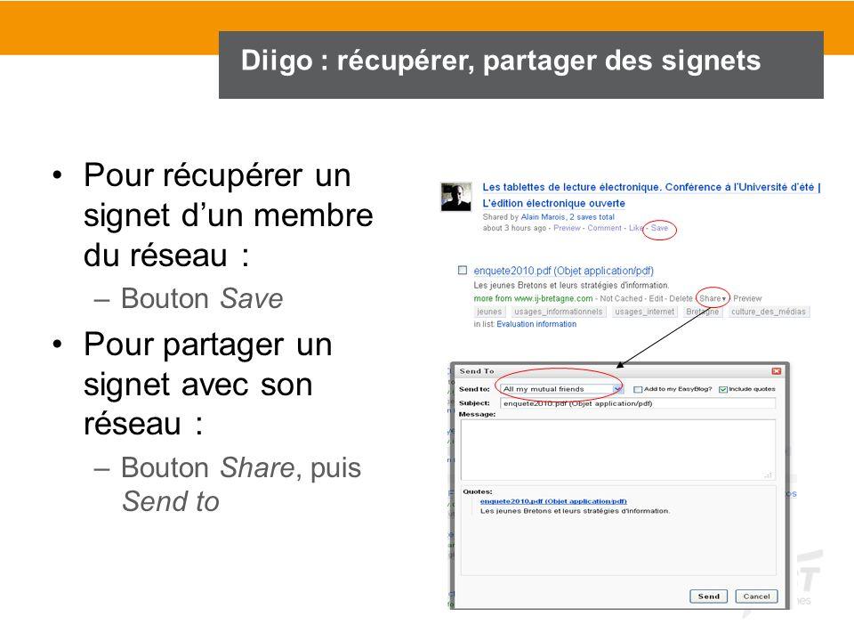 Diigo : récupérer, partager des signets Pour récupérer un signet dun membre du réseau : –Bouton Save Pour partager un signet avec son réseau : –Bouton