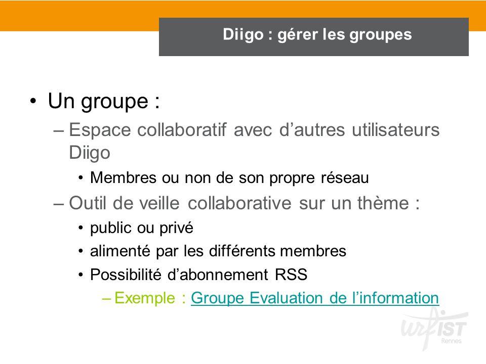 Diigo : gérer les groupes Un groupe : –Espace collaboratif avec dautres utilisateurs Diigo Membres ou non de son propre réseau –Outil de veille collab