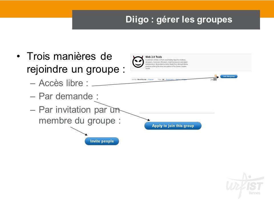 Diigo : gérer les groupes Trois manières de rejoindre un groupe : –Accès libre : –Par demande : –Par invitation par un membre du groupe :