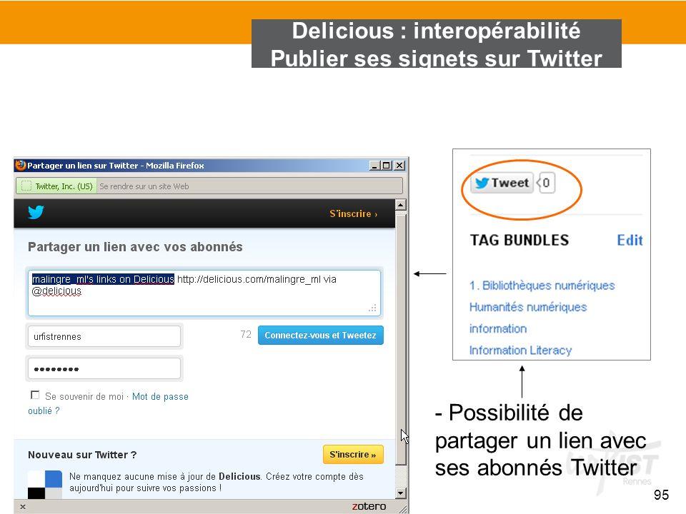 son réseau 95 Delicious : interopérabilité Publier ses signets sur Twitter - Possibilité de partager un lien avec ses abonnés Twitter