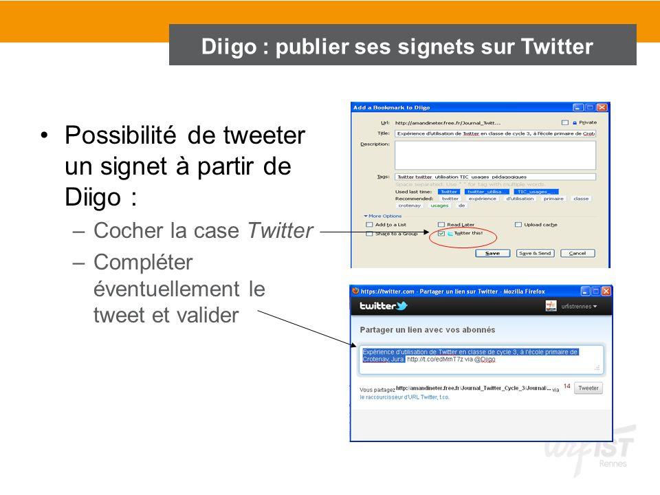 Diigo : publier ses signets sur Twitter Possibilité de tweeter un signet à partir de Diigo : –Cocher la case Twitter –Compléter éventuellement le twee