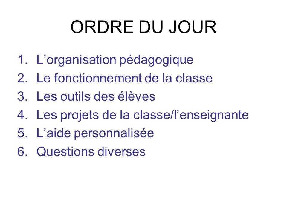 ORDRE DU JOUR 1.Lorganisation pédagogique 2.Le fonctionnement de la classe 3.Les outils des élèves 4.Les projets de la classe/lenseignante 5.Laide per