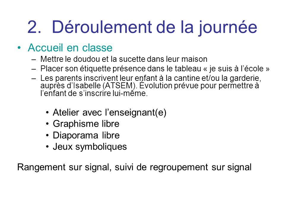 2. Déroulement de la journée Accueil en classe –Mettre le doudou et la sucette dans leur maison –Placer son étiquette présence dans le tableau « je su