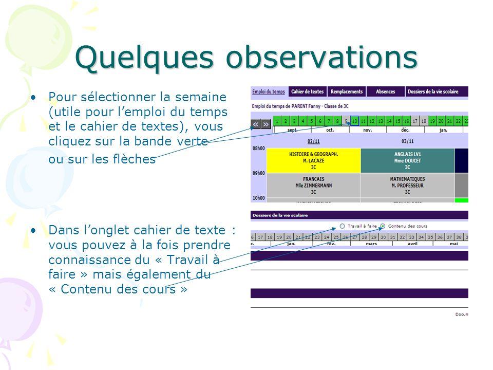 Quelques observations Pour sélectionner la semaine (utile pour lemploi du temps et le cahier de textes), vous cliquez sur la bande verte ou sur les fl