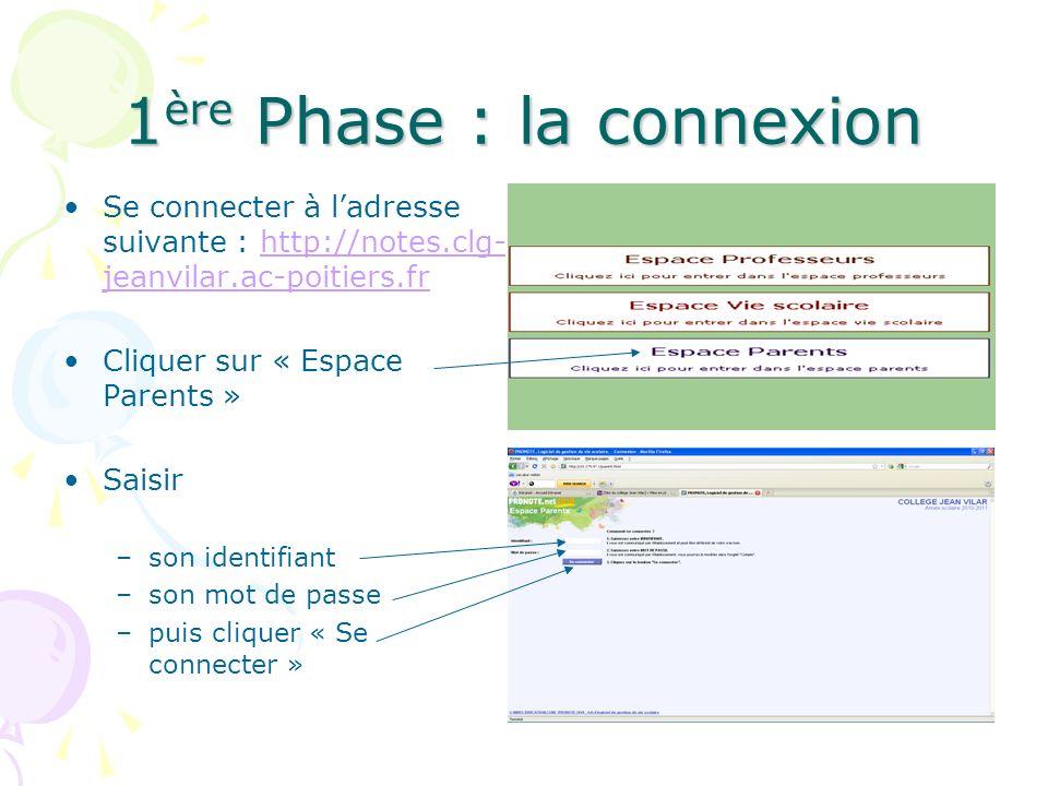 1 ère Phase : la connexion Se connecter à ladresse suivante : http://notes.clg- jeanvilar.ac-poitiers.frhttp://notes.clg- jeanvilar.ac-poitiers.fr Cli