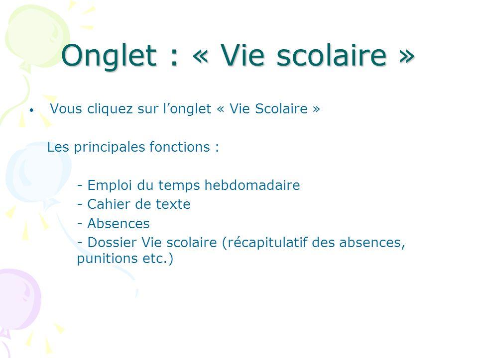 Onglet : « Vie scolaire » Vous cliquez sur longlet « Vie Scolaire » Les principales fonctions : - Emploi du temps hebdomadaire - Cahier de texte - Abs