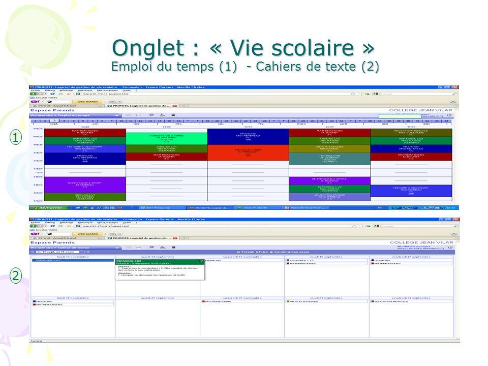 Onglet : « Vie scolaire » Emploi du temps (1) - Cahiers de texte (2) 1 2