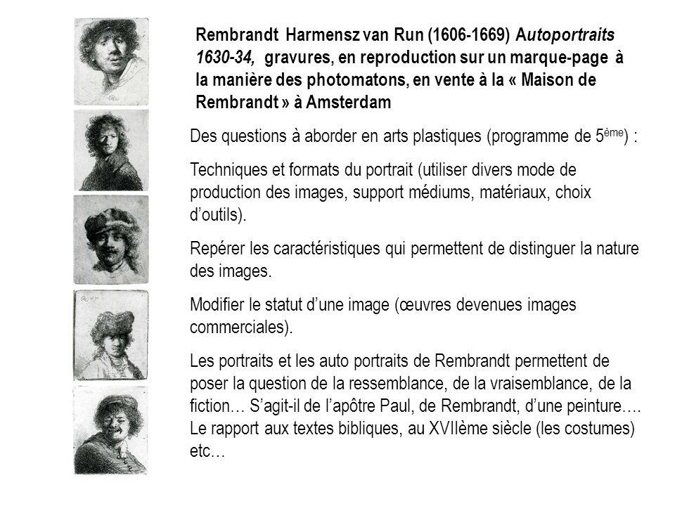 Rembrandt Harmensz van Run (1606-1669) A utoportraits 1630-34, gravures, en reproduction sur un marque-page à la manière des photomatons, en vente à l