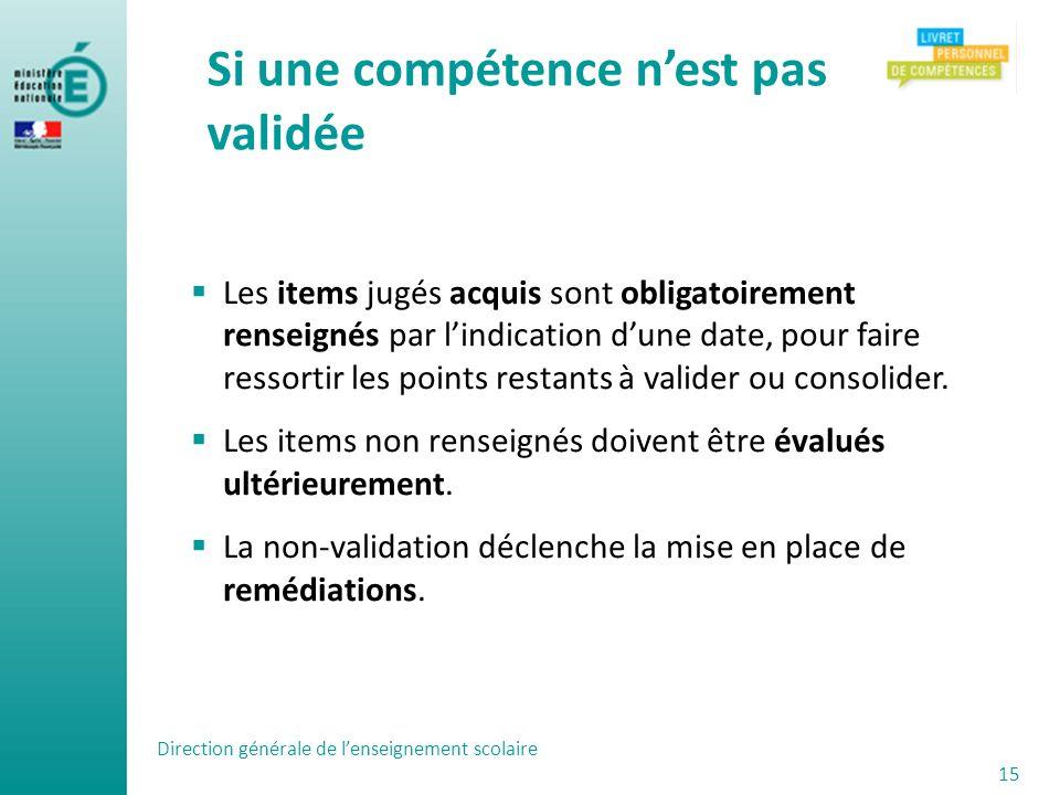 Les items jugés acquis sont obligatoirement renseignés par lindication dune date, pour faire ressortir les points restants à valider ou consolider. Le