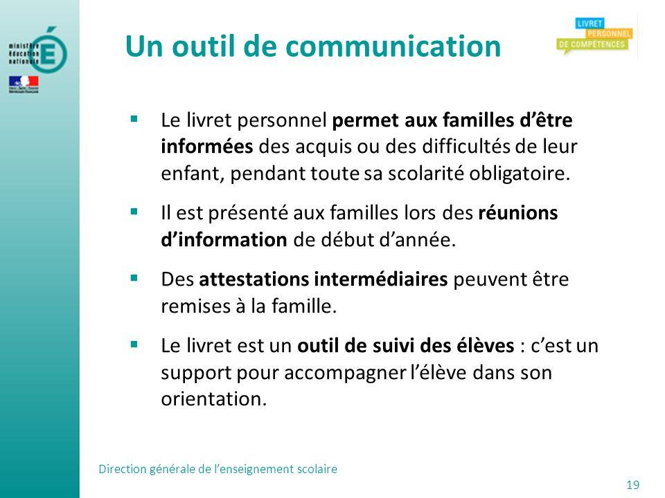 Un outil de communication Le livret personnel permet aux familles dêtre informées des acquis ou des difficultés de leur enfant, pendant toute sa scola