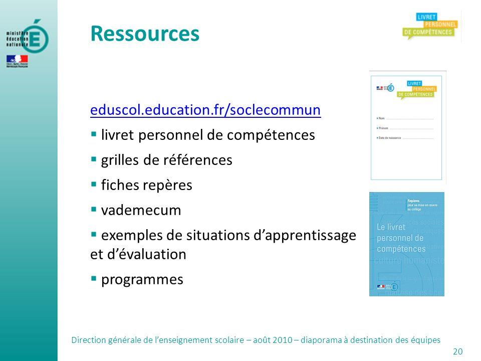 Ressources eduscol.education.fr/soclecommun livret personnel de compétences grilles de références fiches repères vademecum exemples de situations dapp