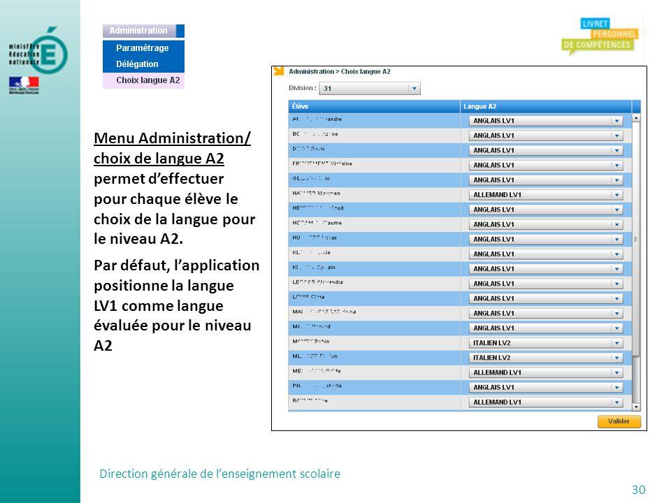 Direction générale de lenseignement scolaire 30 Menu Administration/ choix de langue A2 permet deffectuer pour chaque élève le choix de la langue pour