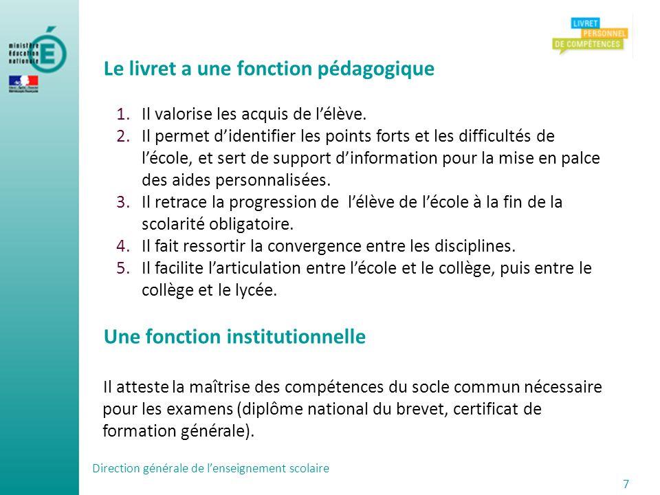 Direction générale de lenseignement scolaire 7 Le livret a une fonction pédagogique 1.Il valorise les acquis de lélève. 2.Il permet didentifier les po