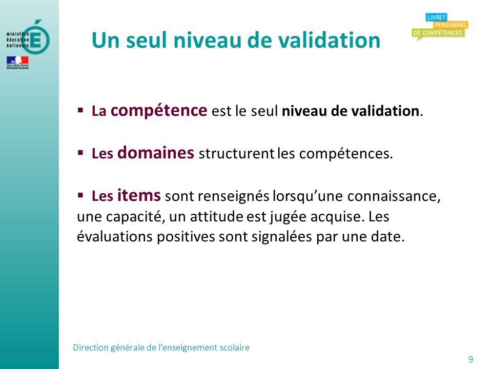 Direction générale de lenseignement scolaire 9 La compétence est le seul niveau de validation. Les domaines structurent les compétences. Les items son