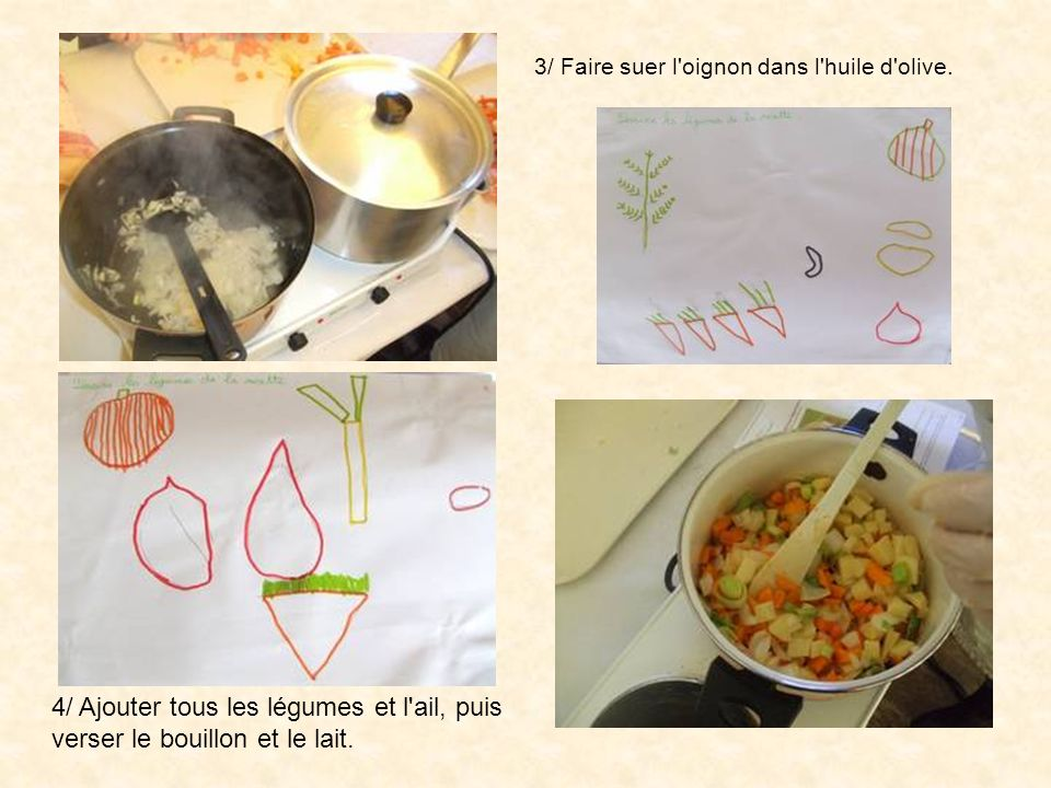 3/ Faire suer l'oignon dans l'huile d'olive. 4/ Ajouter tous les légumes et l'ail, puis verser le bouillon et le lait.