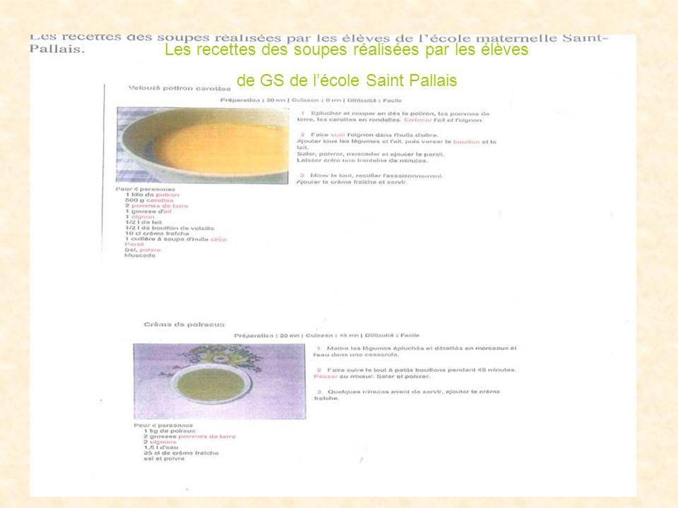 Les recettes des soupes réalisées par les élèves de GS de lécole Saint Pallais