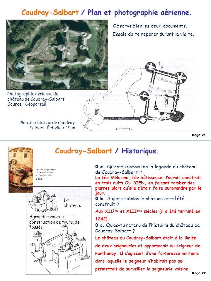 Coudray-Salbart / Plan et photographie aérienne. Observe bien les deux documents. Essaie de te repérer durant la visite. Photographie aérienne du chât