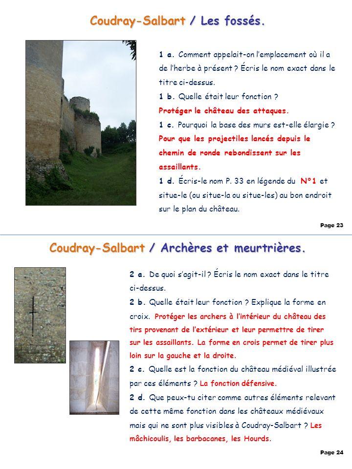 Coudray-Salbart / Les fossés. 1 a. Comment appelait-on lemplacement où il a de lherbe à présent ? Écris le nom exact dans le titre ci-dessus. 1 b. Que