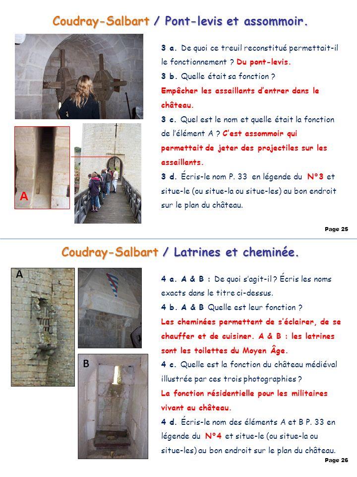Coudray-Salbart / Pont-levis et assommoir. 3 a. De quoi ce treuil reconstitué permettait-il le fonctionnement ? Du pont-levis. 3 b. Quelle était sa fo