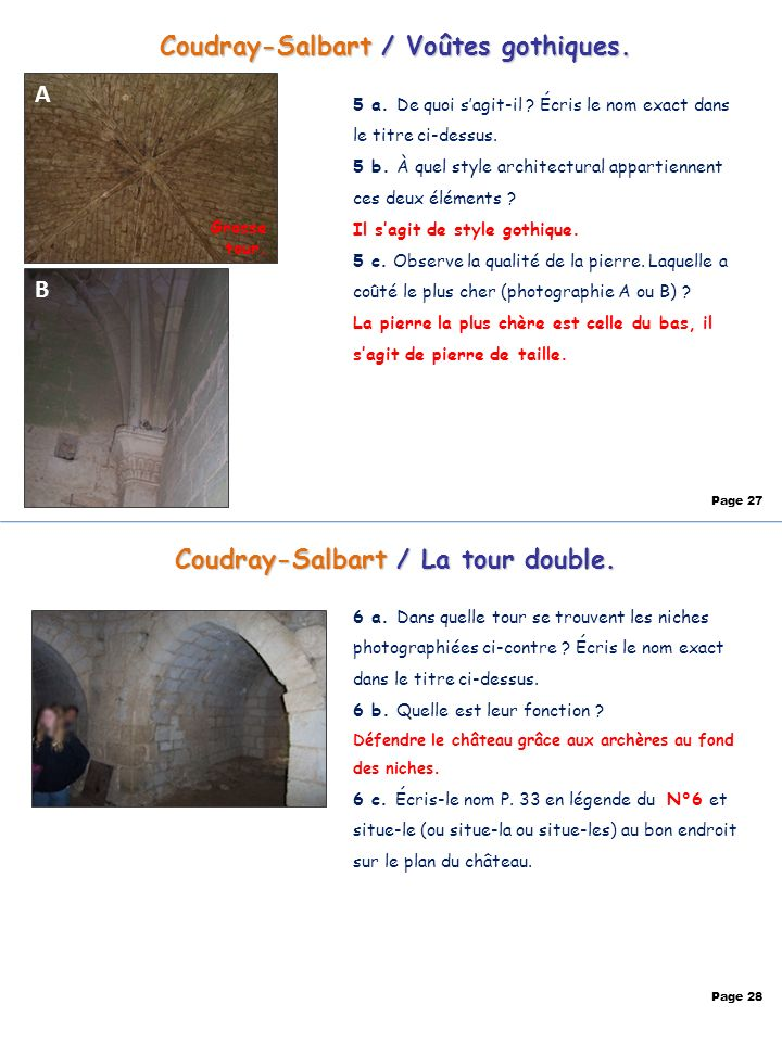 Coudray-Salbart / Voûtes gothiques. A B Page 27 Coudray-Salbart / La tour double. Page 28 5 a. De quoi sagit-il ? Écris le nom exact dans le titre ci-