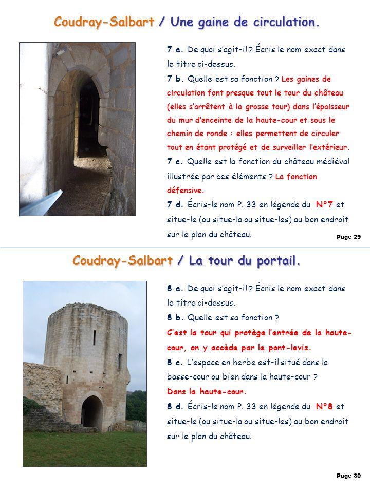 Coudray-Salbart / Une gaine de circulation. Page 29 Coudray-Salbart / La tour du portail. 8 a. De quoi sagit-il ? Écris le nom exact dans le titre ci-