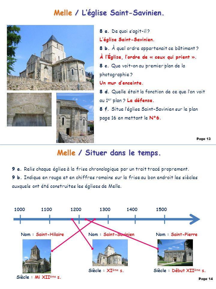 Melle / Situer dans lespace.10 a. Sur quel chemin de pèlerinage se situent les églises de Melle .