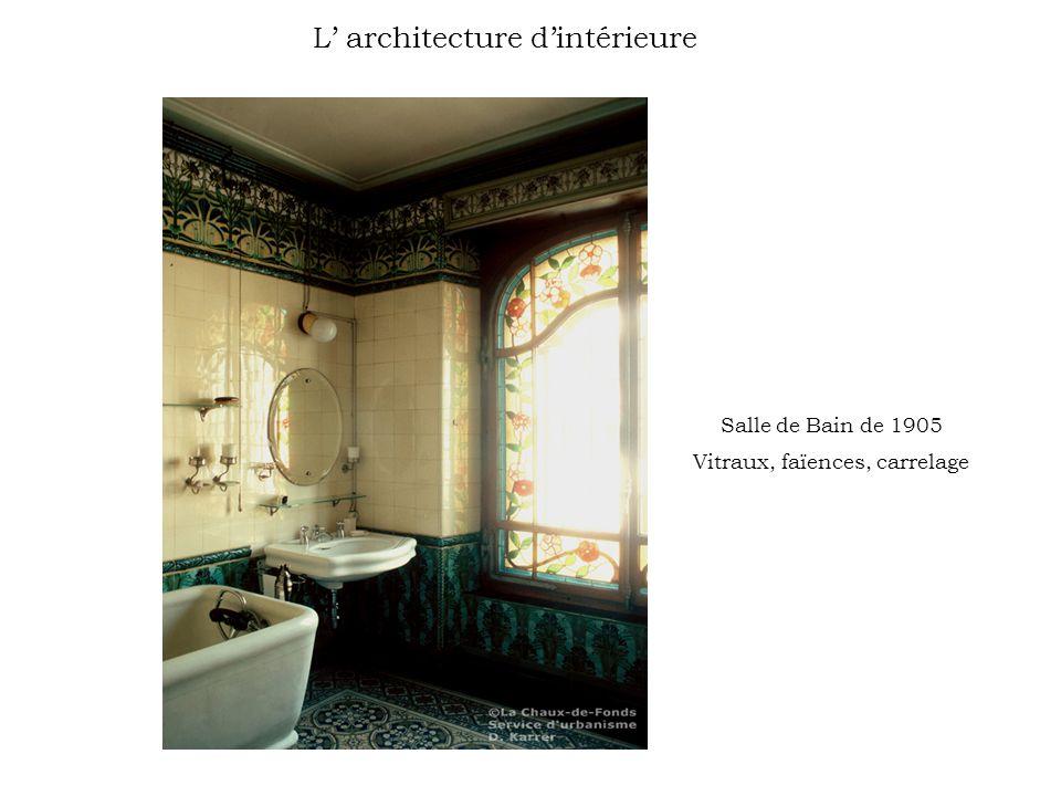 Salle de Bain de 1905 Vitraux, faïences, carrelage L architecture dintérieure