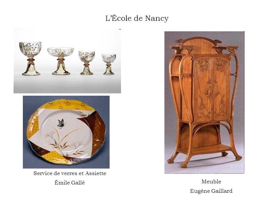 LÉcole de Nancy Service de verres et Assiette Émile Gallé Meuble Eugène Gaillard