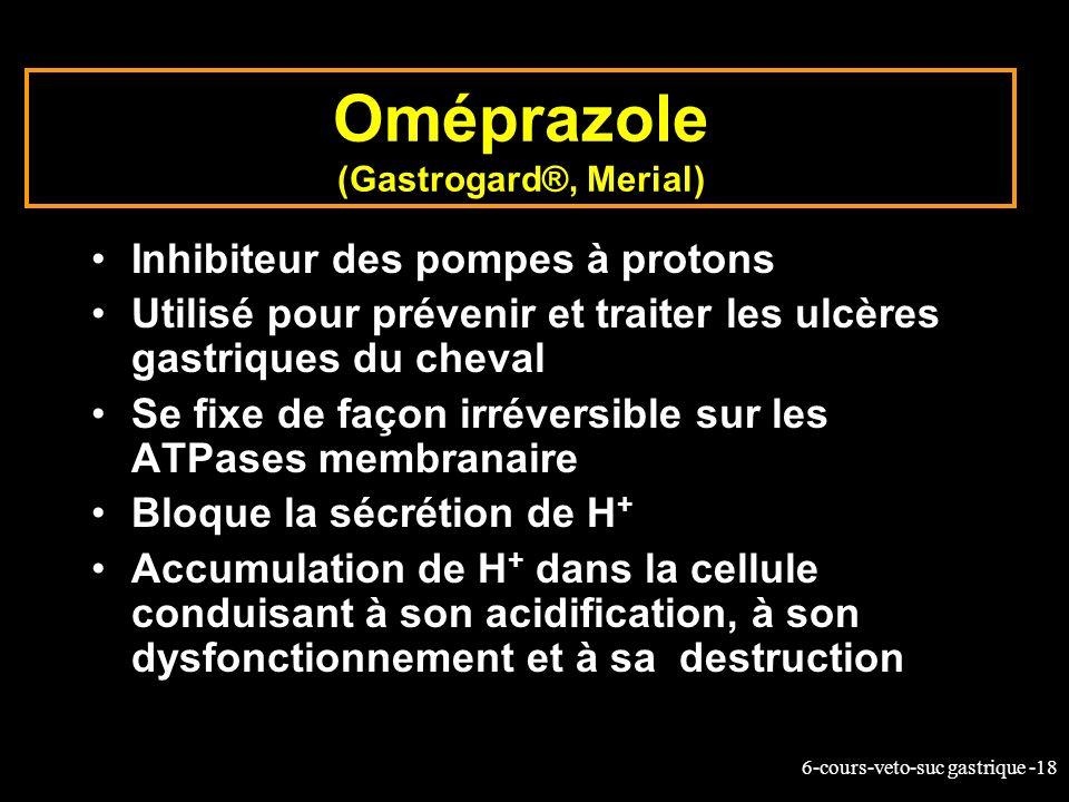 6-cours-veto-suc gastrique -18 Oméprazole (Gastrogard®, Merial) Inhibiteur des pompes à protons Utilisé pour prévenir et traiter les ulcères gastrique