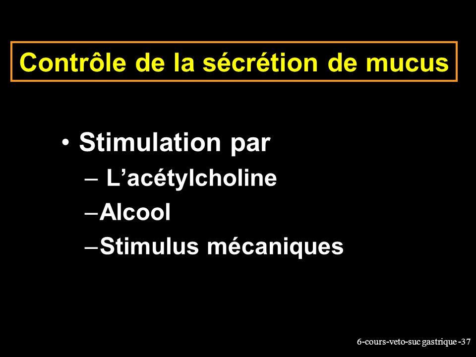 6-cours-veto-suc gastrique -37 Contrôle de la sécrétion de mucus Stimulation par – Lacétylcholine –Alcool –Stimulus mécaniques