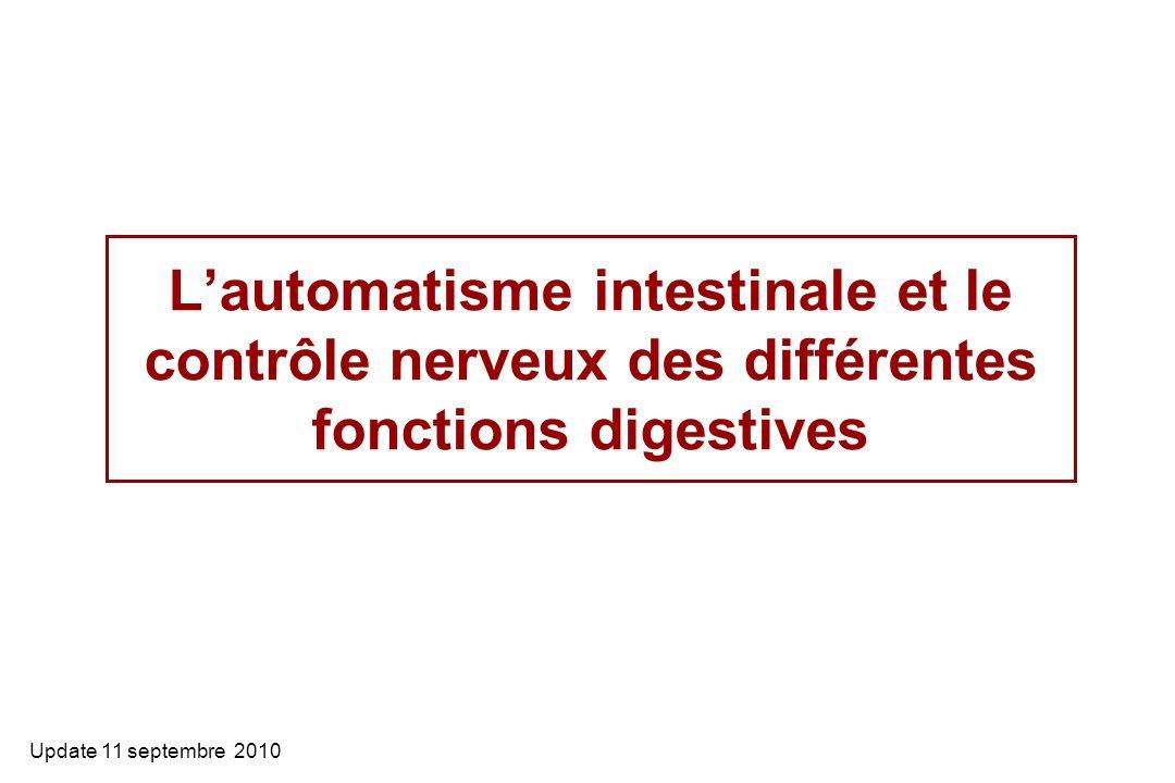 Lautomatisme intestinale et le contrôle nerveux des différentes fonctions digestives Update 11 septembre 2010