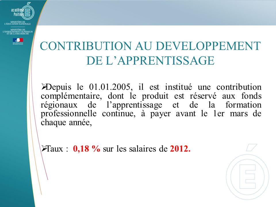 CONTRIBUTION AU DEVELOPPEMENT DE LAPPRENTISSAGE Depuis le 01.01.2005, il est institué une contribution complémentaire, dont le produit est réservé aux