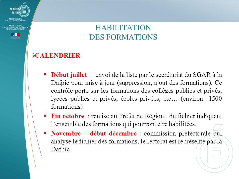 HABILITATION DES FORMATIONS CALENDRIER Début juillet : envoi de la liste par le secrétariat du SGAR à la Dafpic pour mise à jour (suppression, ajout d