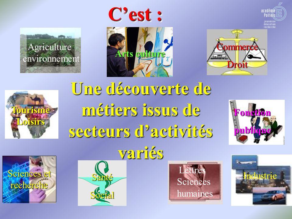 Une découverte de métiers issus de secteurs dactivités variés Agriculture environnement Arts culture SantéSocial Commerce droit CommerceDroit Lettres