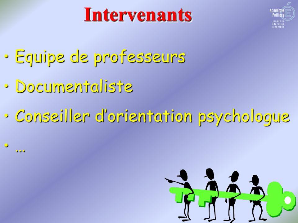 Equipe de professeurs Documentaliste Conseiller dorientation psychologue …IntervenantsIntervenants