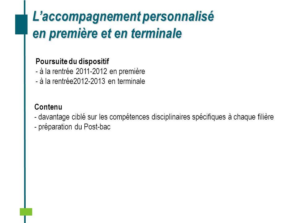 Réalisation ………… Laccompagnement personnalisé en première et en terminale Poursuite du dispositif - à la rentrée 2011-2012 en première - à la rentrée2