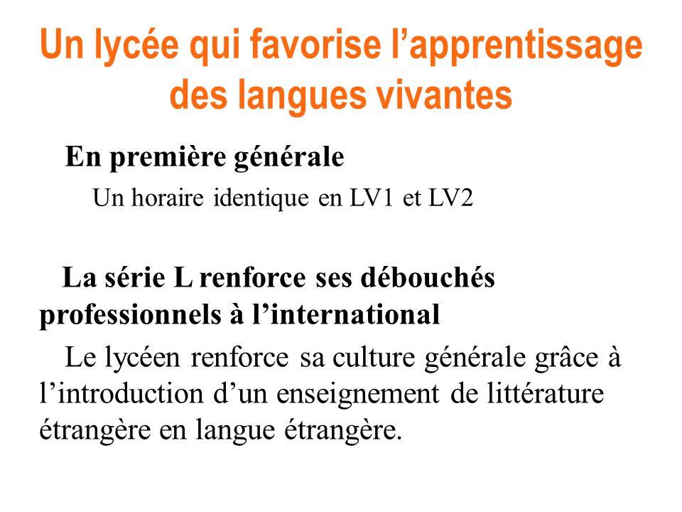 En première générale Un horaire identique en LV1 et LV2 La série L renforce ses débouchés professionnels à linternational Le lycéen renforce sa cultur