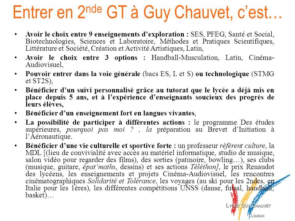 Entrer en 2 nde GT à Guy Chauvet, cest… Avoir le choix entre 9 enseignements dexploration : SES, PFEG, Santé et Social, Biotechnologies, Sciences et L