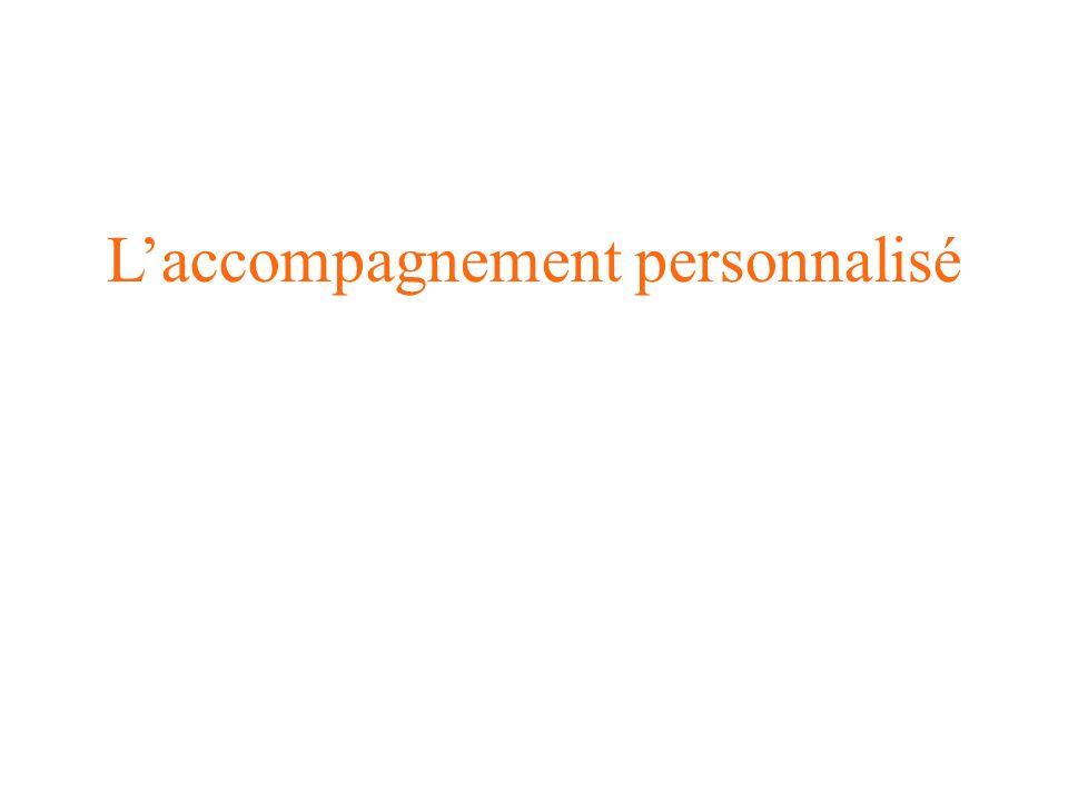 Laccompagnement personnalisé répond aux besoins de chaque lycéen –un soutien aux élèves qui rencontrent des difficultés, dans les disciplines comme dans les méthodes, –approfondir leurs connaissances, –donner aux élèves des méthodes pour faciliter le passage vers lenseignement supérieur, –accompagner le projet dorientation (PDMF), Laccompagnement personnalisé est réalisé par les enseignants –Léquipe pédagogique définit son projet daccompagnement en fonction des besoins de chaque élève.