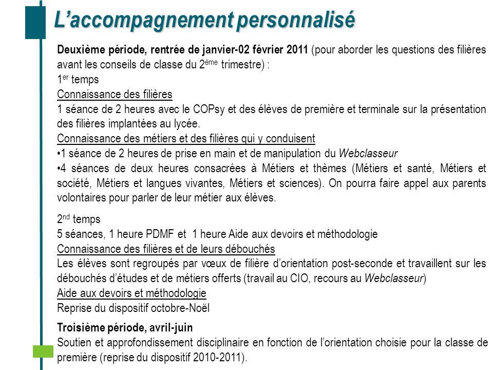 Réalisation ………… Laccompagnement personnalisé Deuxième période, rentrée de janvier-02 février 2011 (pour aborder les questions des filières avant les