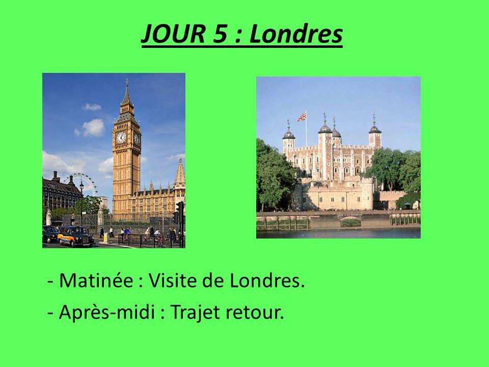 JOUR 5 : Londres - Matinée : Visite de Londres. - Après-midi : Trajet retour.