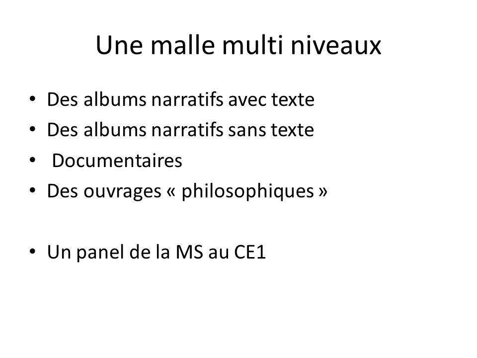 Une malle multi niveaux Des albums narratifs avec texte Des albums narratifs sans texte Documentaires Des ouvrages « philosophiques » Un panel de la M
