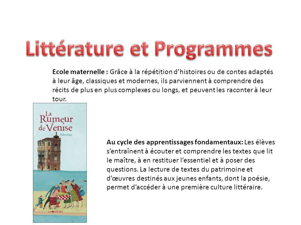 Ecole maternelle : Grâce à la répétition dhistoires ou de contes adaptés à leur âge, classiques et modernes, ils parviennent à comprendre des récits d