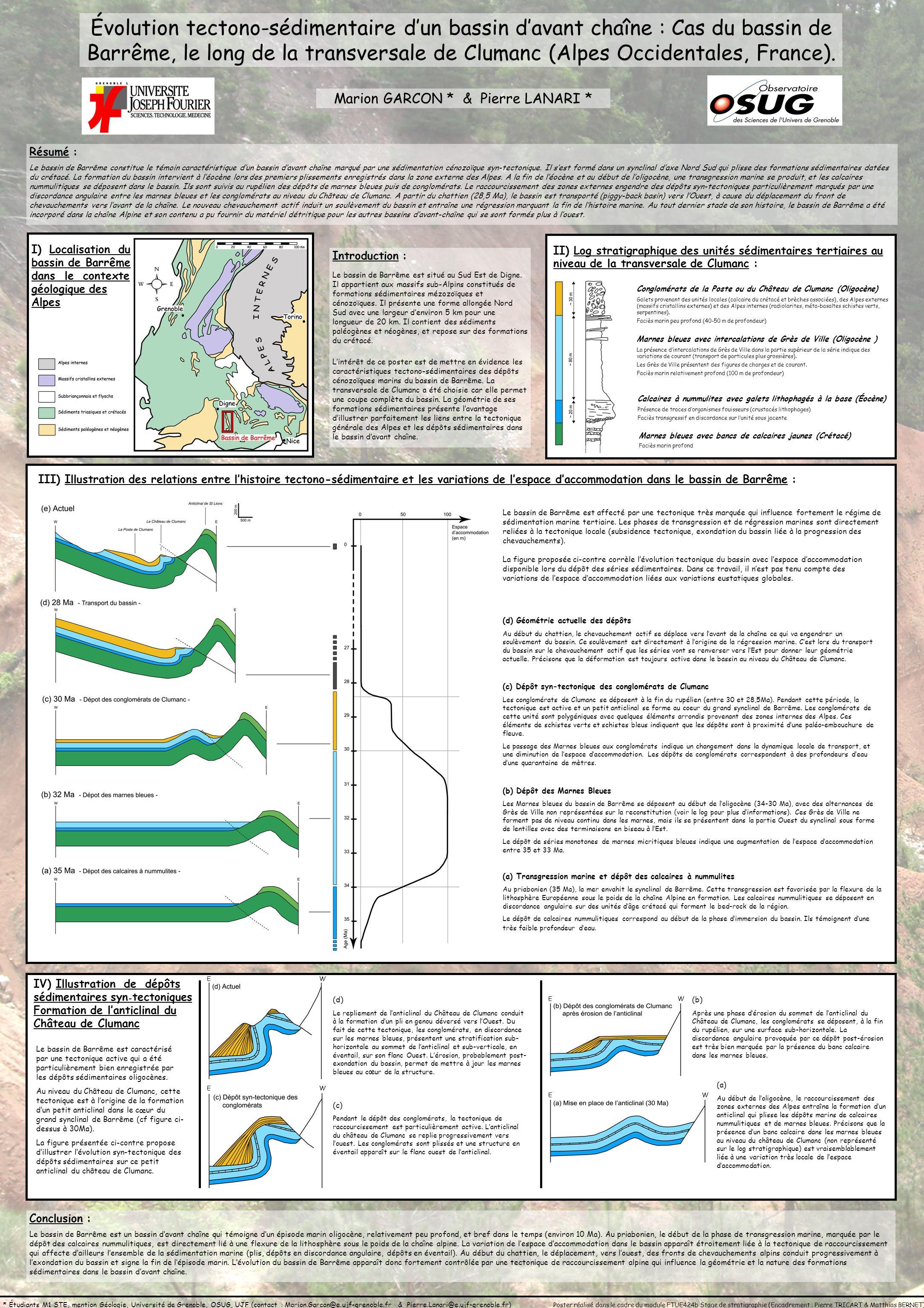 Évolution tectono-sédimentaire dun bassin davant chaîne : Cas du bassin de Barrême, le long de la transversale de Clumanc (Alpes Occidentales, France)