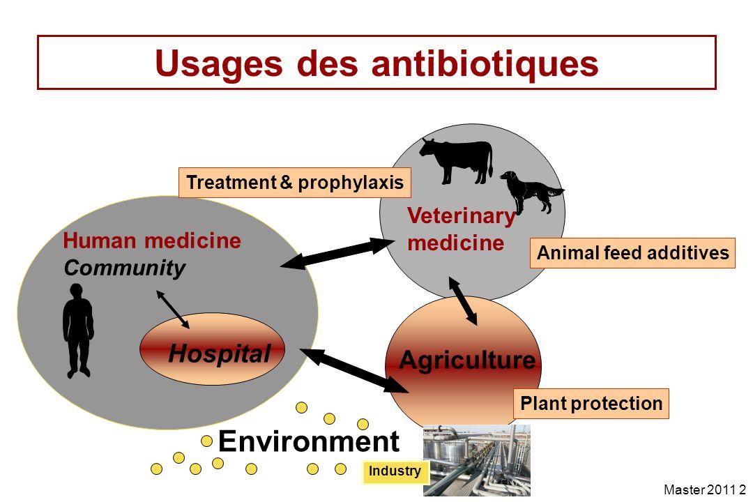 Master 2011 113 Germes commensaux et traitements antibiotiques Hôte 1 : animal (ou homme) Mutation Antibiotique Sélection des mutants généralement non pathogènes mais pérennes (ex: coliformes) et parfois pathogènes (ex: entérocoques chez les personnes immunodéprimées) Hôte 2 : homme Colonisation pérenne - réserve de gènes de résistance avec possibilité de passage à des pathogènes - parfois germes deviennent pathogènes ex: enterocoques résistants à la vancomycine et relation avec avoparcine Environnement Passage à l homme Autre homme (+++)chaîne alimentaire (+++)