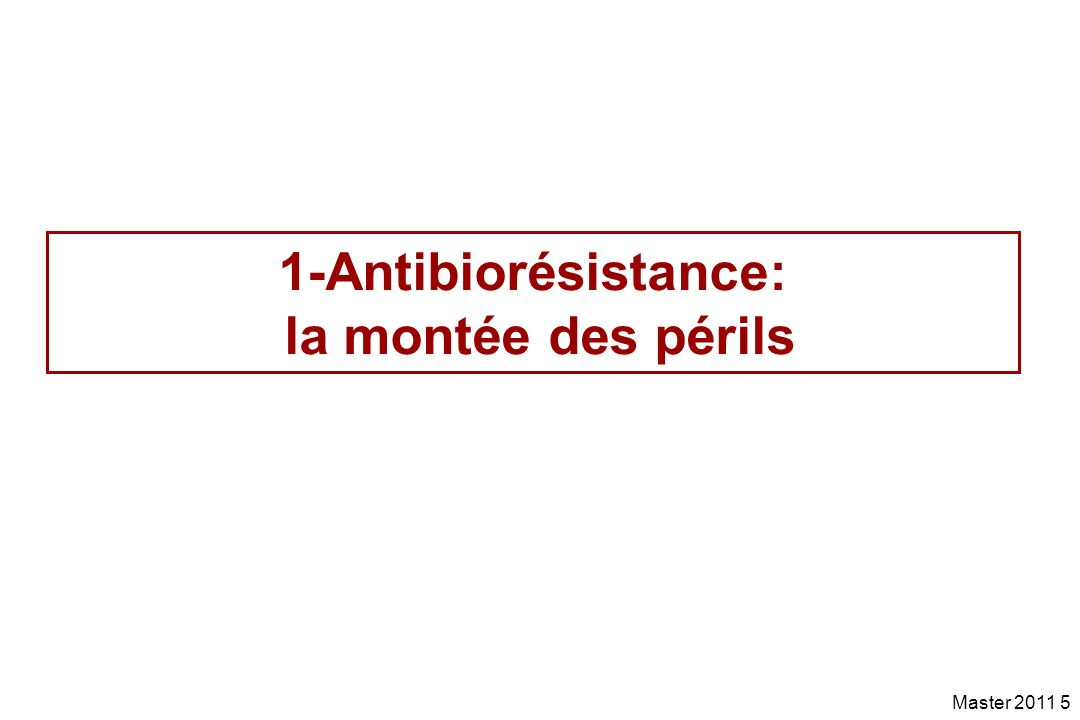 Master 2011 76 Les 4 problèmes liés à lusage des antibiotiques en médecine vétérinaire 1.Rejet dantibiotique dans lenvironnement 2.Résidus dantibiotique dans les aliments 3.Diminution de la sensibilité ou résistance des pathogènes zoonotiques passant de lanimal à lhomme soit directement soit via la chaîne alimentaire 4.Développement de résistance sur la flore commensale et passage des gènes de résistance à lhomme
