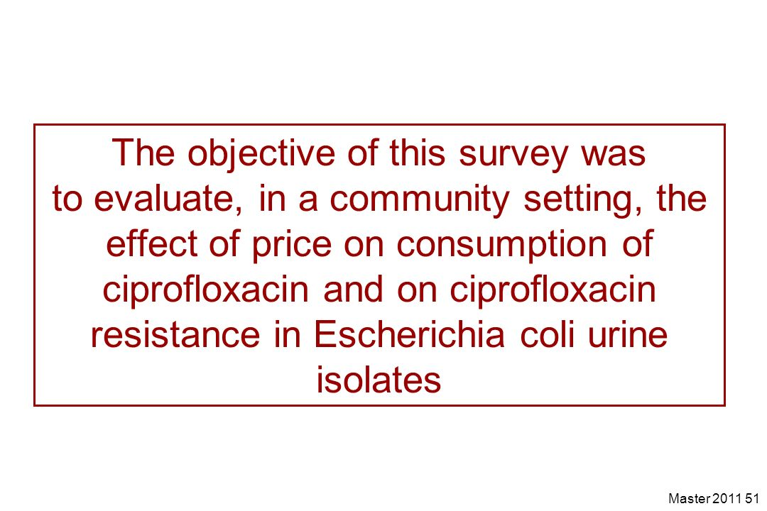 Master 2011 51 The objective of this survey was to evaluate, in a community setting, the effect of price on consumption of ciprofloxacin and on ciprof