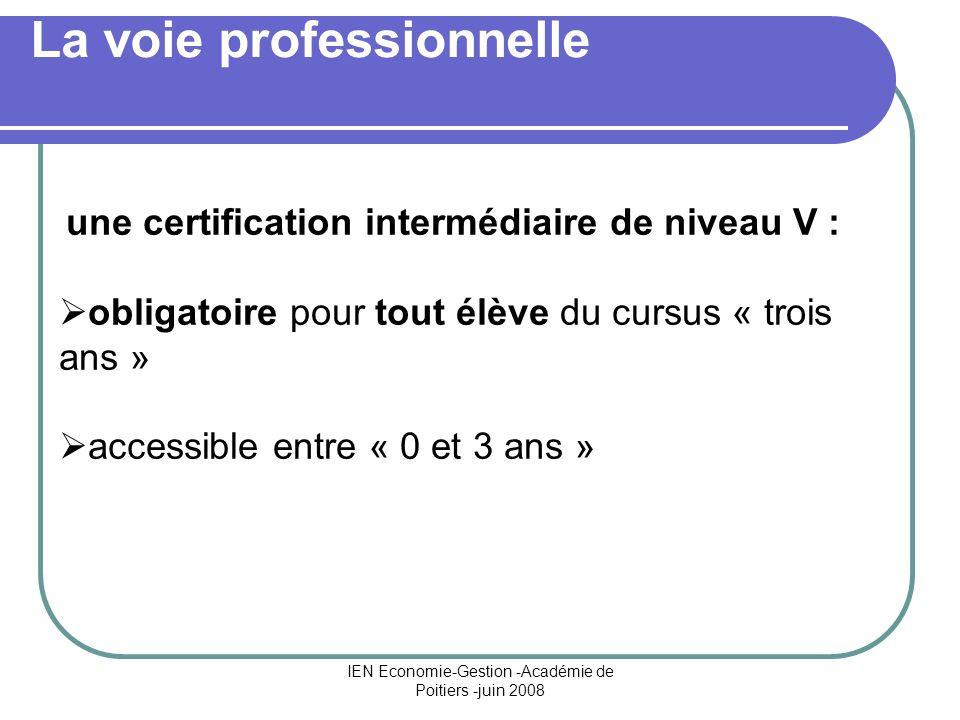 IEN Economie-Gestion -Académie de Poitiers -juin 2008 La voie professionnelle une certification intermédiaire de niveau V : obligatoire pour tout élèv